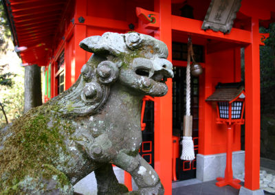 lion at japanese shrine